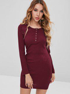 Ribbed Snap-button Bodycon Dress - Firebrick L