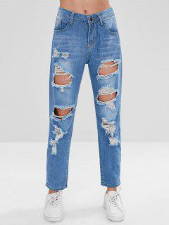Ripped Boyfriend Jeans - Blue S
