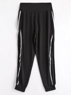High Slit Striped Patched Pants - Black M
