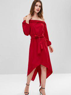 Off Shoulder Belted High Low Dress - Red Wine L