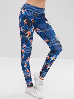 Striped Leaf Sports Leggings - Earth Blue L