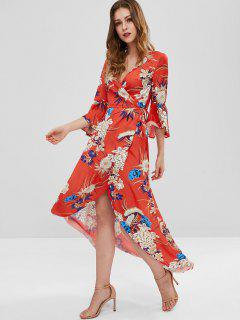 Flare Sleeves Floral Wrap Dress - Red L