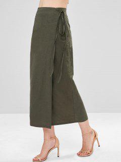 Wrap Tie Midi Skirt - Army Green M