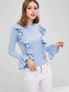 Flare Sleeve Ruffled Knit Sweater - Light Blue