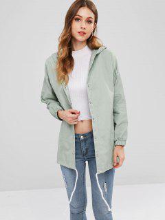 Drawstring Tunic Hooded Coat - Dark Sea Green S