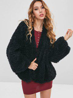 Collarless Fuzzy Coat - Black