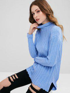 Turtleneck High Low Longline Sweater - Sky Blue