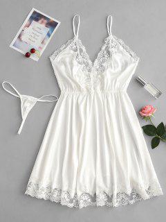 Vestido De Satén Chemise Vestido De Panty Conjunto De Lencería - Blanco