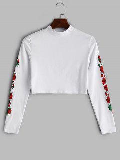 T-shirt Court Rose Imprimé - Blanc