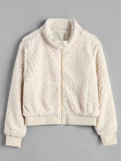 Zip Up Loose Fluffy Coat - Beige M