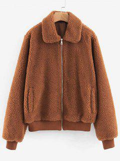 Ribbed Trim Faux Shearling Jacket - Tiger Orange S