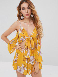 Floral Open Back Cold Shoulder Romper - Rubber Ducky Yellow L