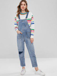 Drayed Denim Dungaree Overalls - Blue