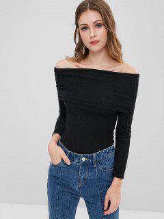 Foldover Off Shoulder Sweater - Black Xl