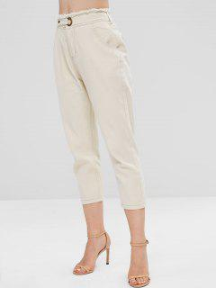 Boyfriend Frayed Trim High Waist Jeans - Apricot Xl