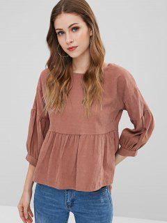 Back Knotted Cut Out Blouse - Orange Salmon S