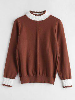 Scalloped High Neck Knit Sweater - Chestnut