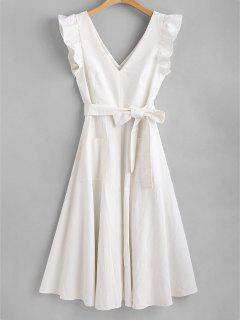 Vestido Sin Mangas Anudado Con Volantes - Blanco M