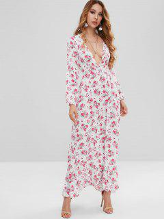 Flower Plunging Ruffle Maxi Dress - White L