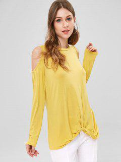Twist Cold Shoulder Tunic Top - Corn Yellow M