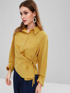 Camisa De Tirantes Con Bolsillos Laterales - Marrón Dorado