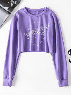ZAFUL Graphic Cropped Sweatshirt - Purple S
