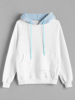 Color Block Raglan Sleeve Fleece Hoodie - White