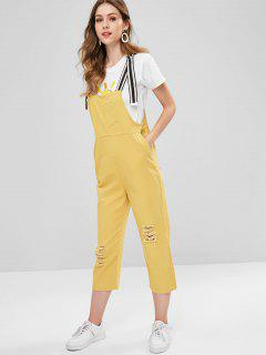 Striped Strap Ripped Denim Dungaree Overalls - Sun Yellow
