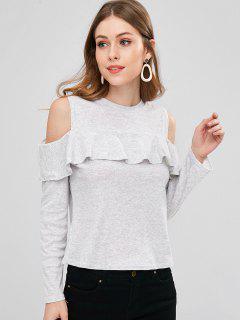 Open Shoulder Ruffles T-shirt - Light Gray Xl