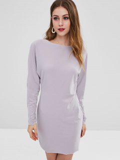 Fleece Long Sleeve Dress - Platinum L