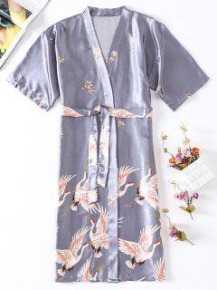 Robe Mi-Longue Orientale Imprimée En Satin - Bleu-gris M