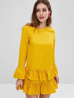 Ruffles Straight Casual Dress - Golden Brown M