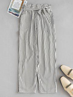 High Waist Belted Striped Pants - White 2xl