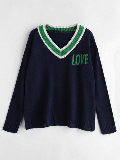 Contrast V Neck Drop Shoulder Sweater - Midnight Blue