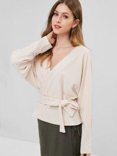 Ribbed Open Back Surplice Top - Warm White M