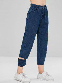 Cutout Ninth Tapered Jeans - Denim Dark Blue M
