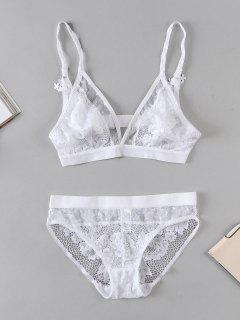 ZAFUL Sheer Lace Bra And Panty Lingerie Set - White M