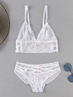 Sheer Lace Bra And Panty Set - White M