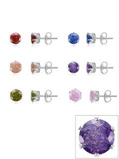 Simple Artificial Gem Stud Earrings Set - 多色