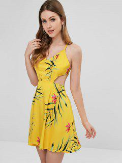 Leaf Print Cutout Sundress - Corn Yellow L