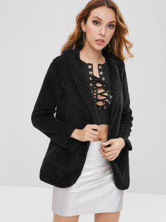Hooded Open Front Fluffy Coat - Black