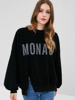 Graphic Fuzzy Sweatshirt - Black