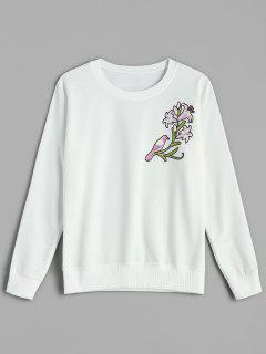 Floral Pullover Sweatshirt - White L