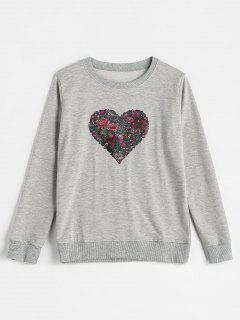 Pullover Floral Heart Sweatshirt - Gray Xl