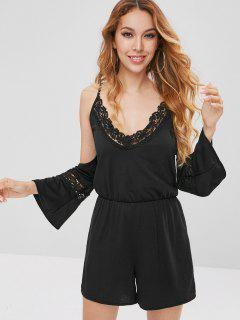 Lace Panel Cami Romper - Black M