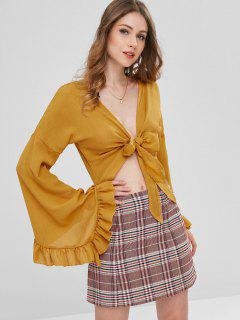 Flare Sleeves Tie Front Blouse - Orange Gold L