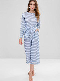 Wide Leg Striped Belted Jumpsuit - Baby Blue L