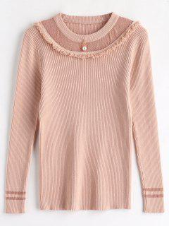Tassels Beaded Ribbed Knitwear - Rose