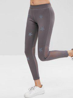 Star Mesh Panel Sports Leggings - Gray M