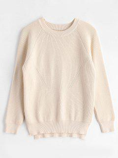 Raglan Sleeves Side Slit Sweater - Cornsilk